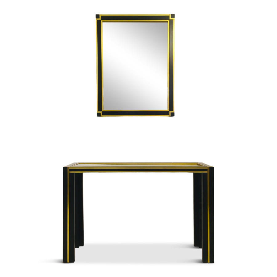 1970s Italian brass and black metal console and mirror