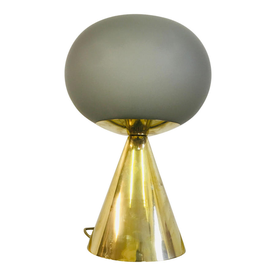 Italian grey glass and brass table lamp