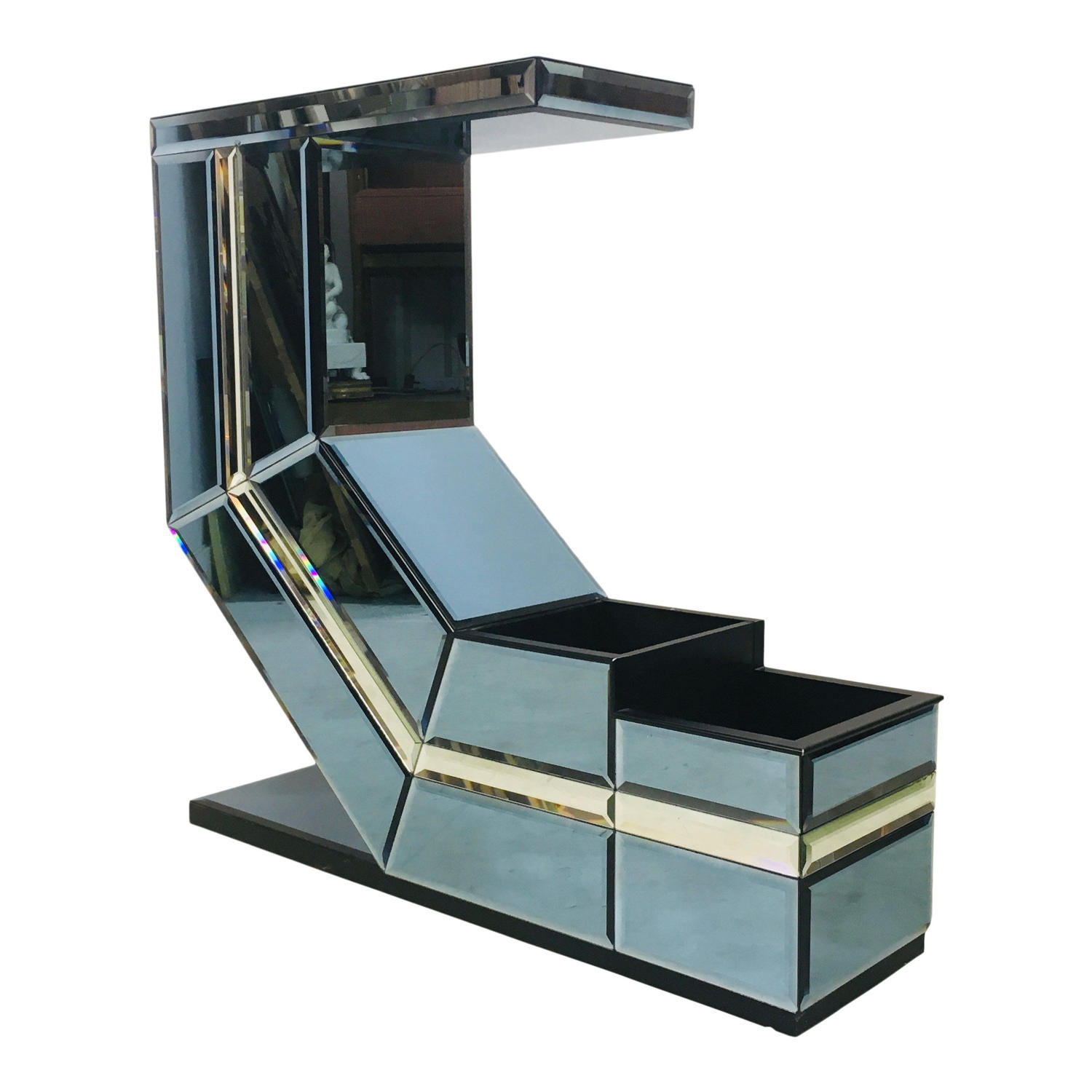 1980s Italian coloured glass console table