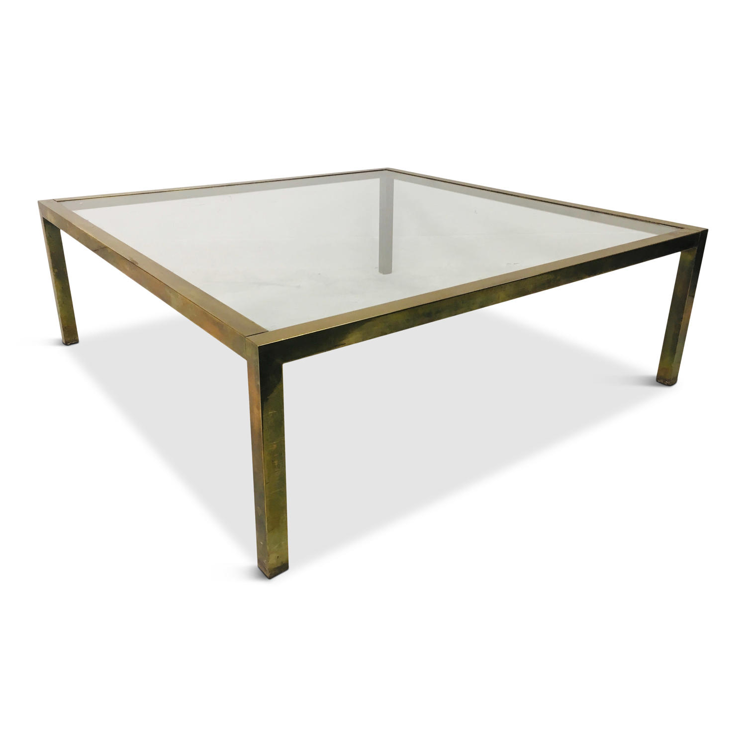 Large 1970s brass coffee table
