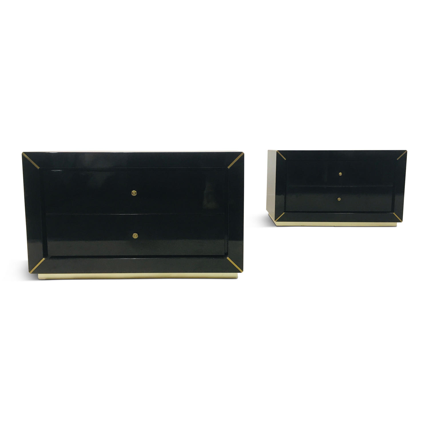 A pair of 1970s Italian black lacquered and brass bedside tables