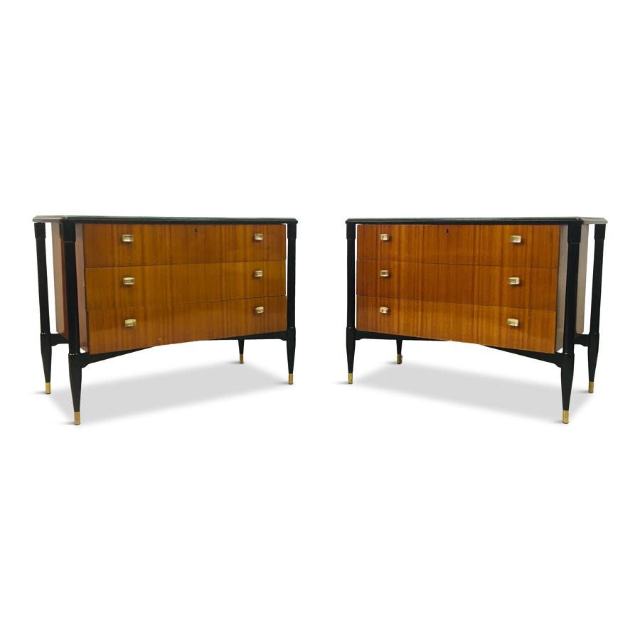 A pair of 1950s Italian mahogany and black chest of drawers