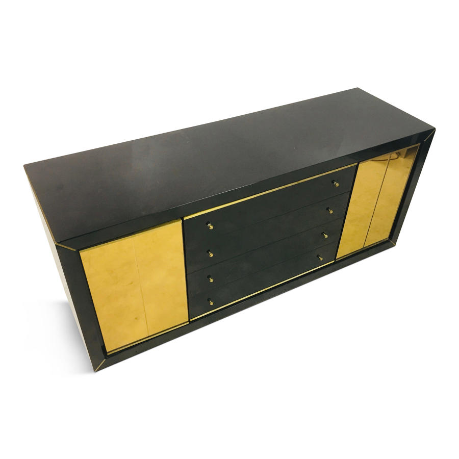 1970s Italian black lacquer and brass sideboard