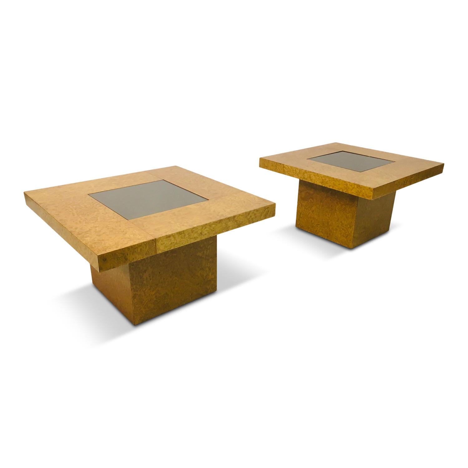 A pair of 1970s burl wood and glass side tables