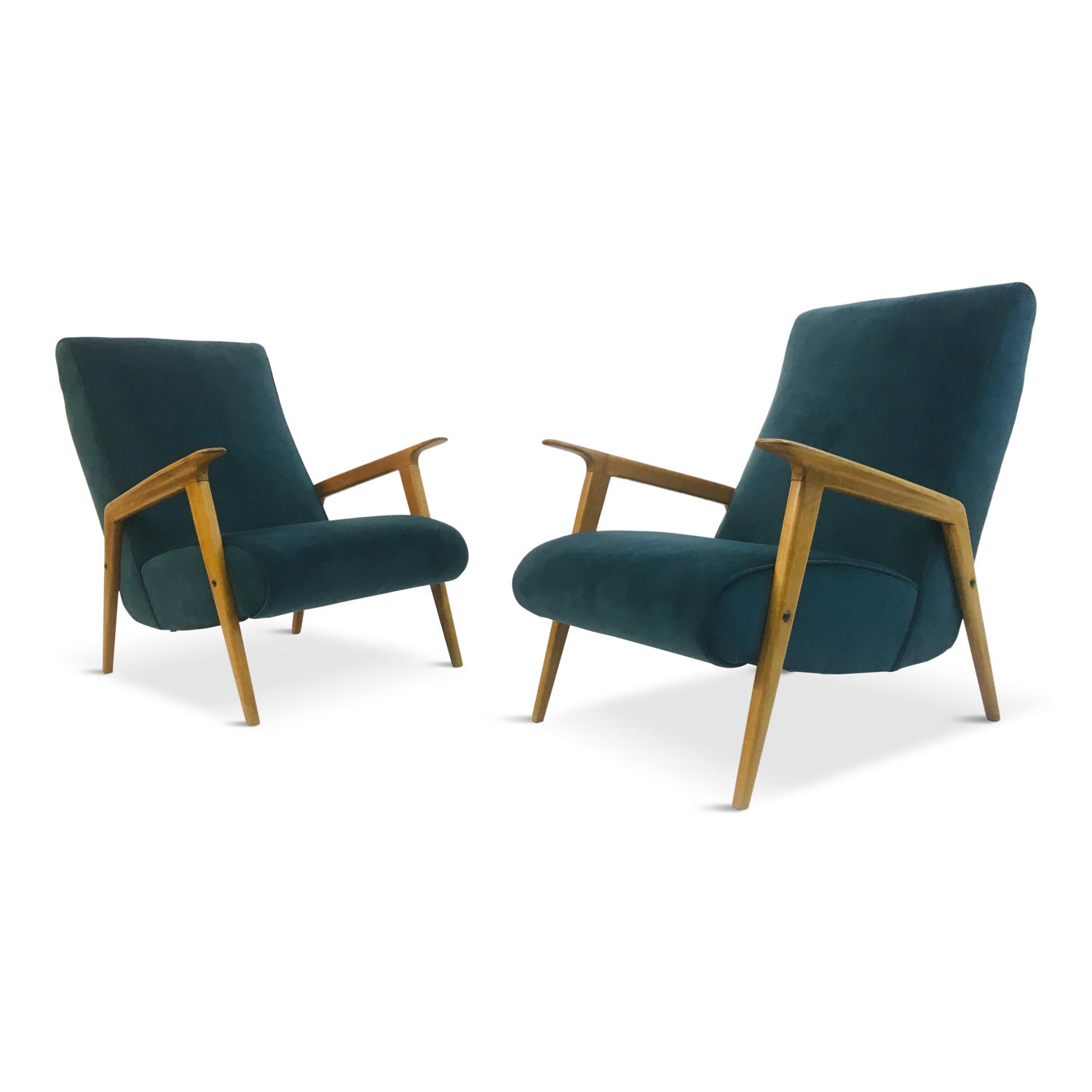 A Pair of 1950s Italian Armchairs in Teal Velvet