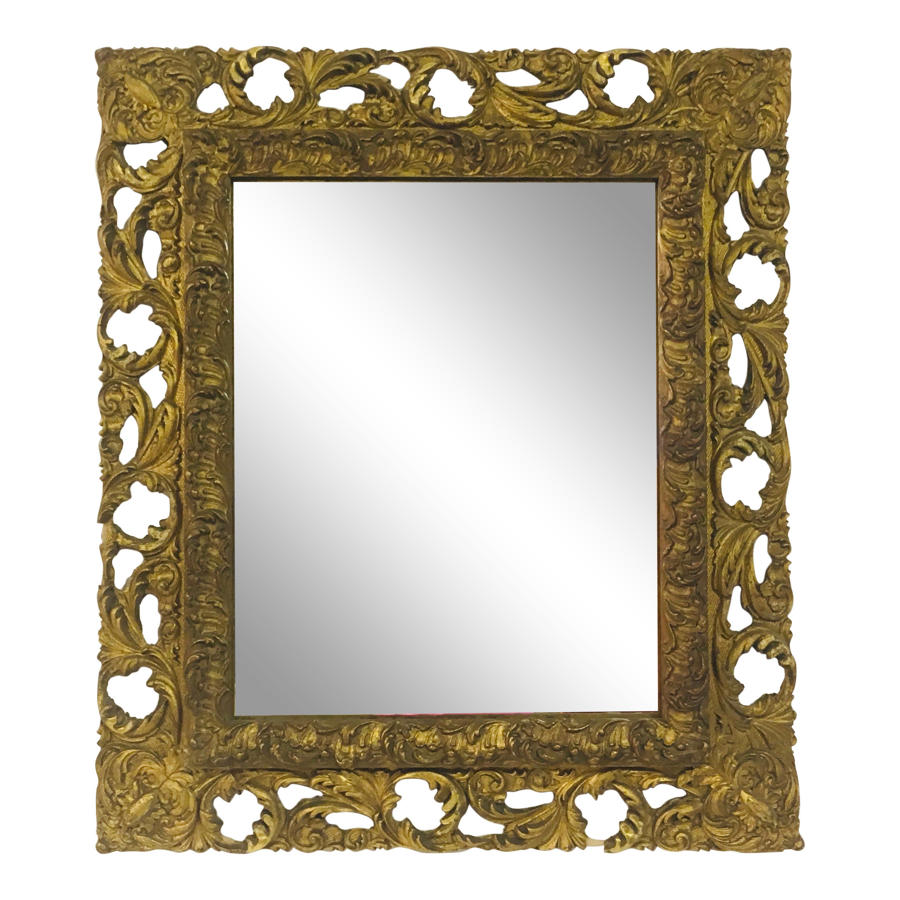 Antique Florentine gilt wood and gesso mirror