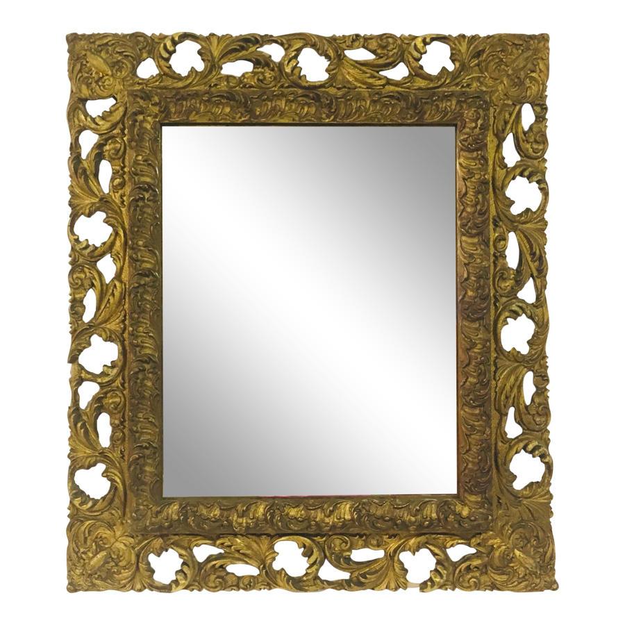 Antique Florentine gilt wood and gesso mirror