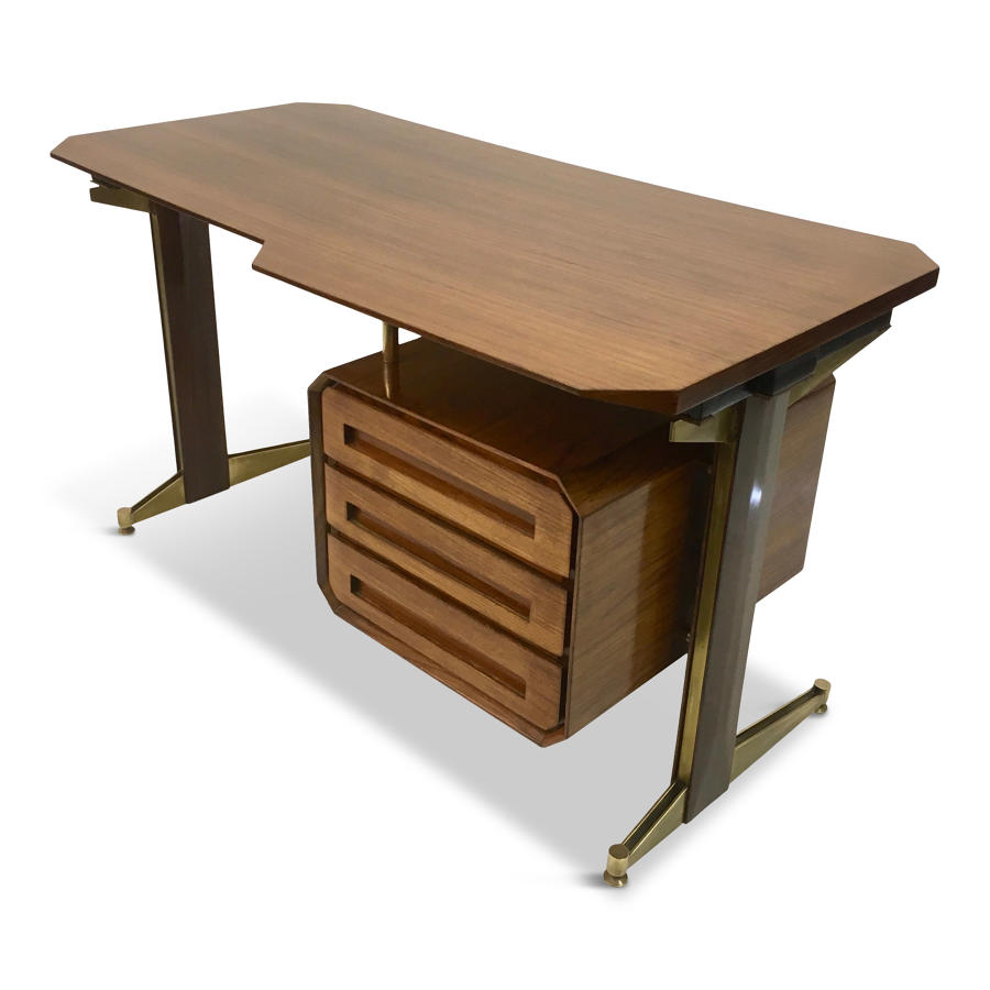 Small 1950s Italian rosewood and brass desk by Dassi