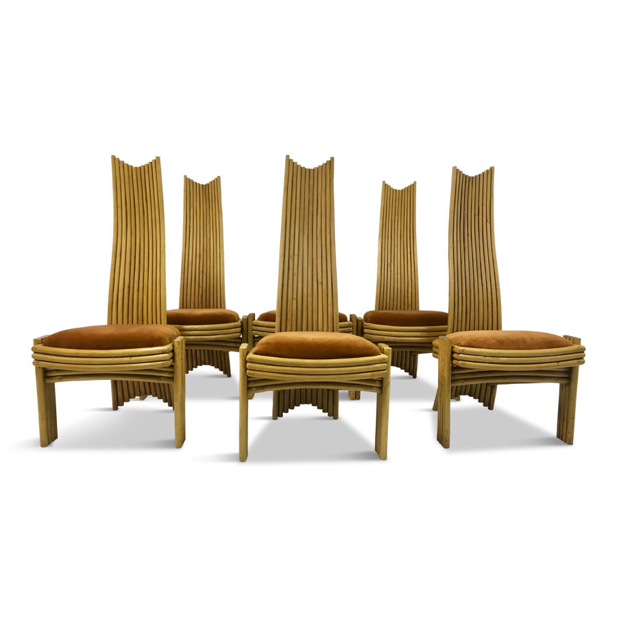 A set of six 1970s bamboo dining chairs