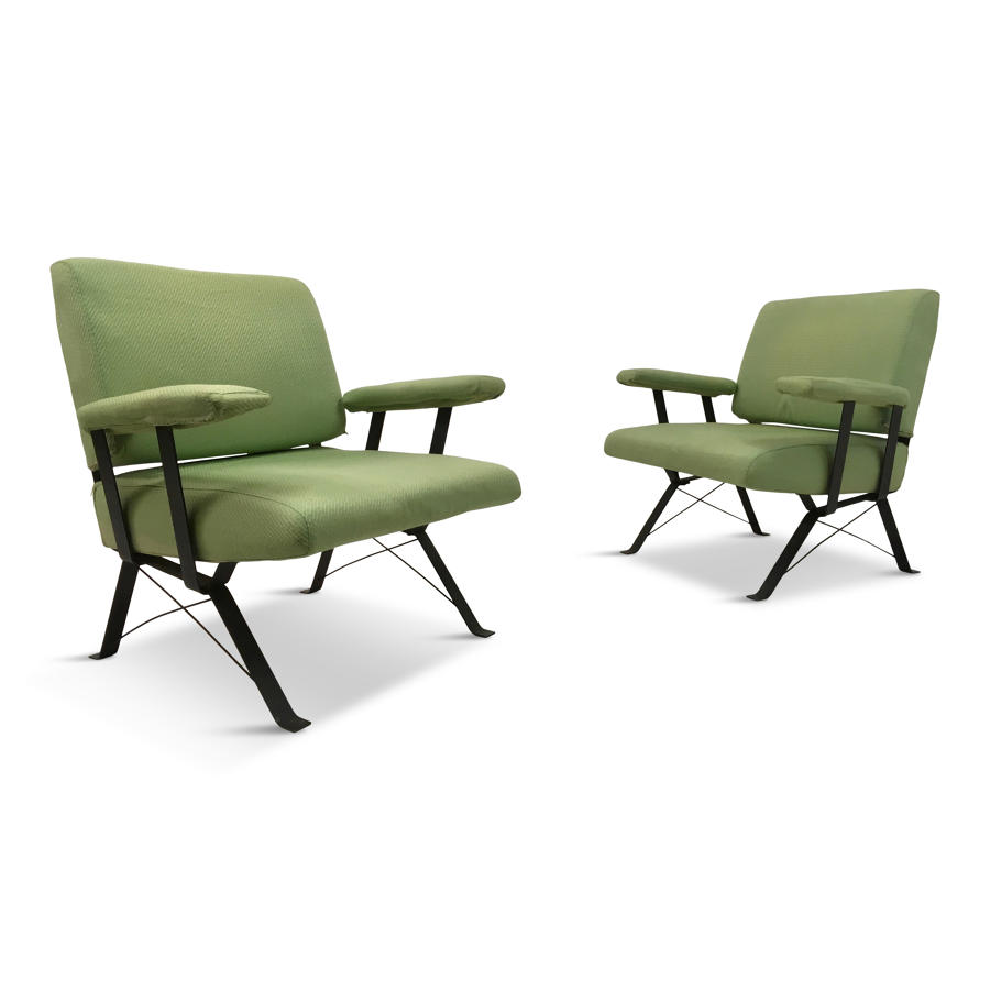 A pair of 1960s Italian steel armchairs