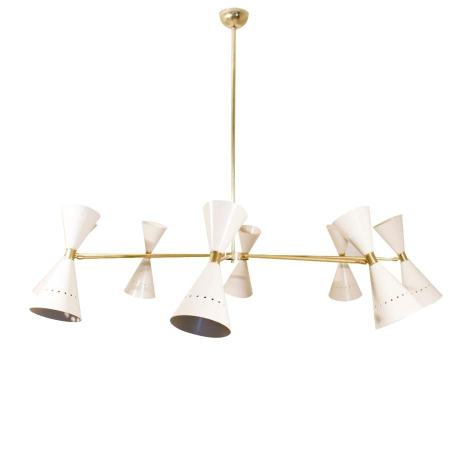 1950s style Italian and brass eight light chandelier