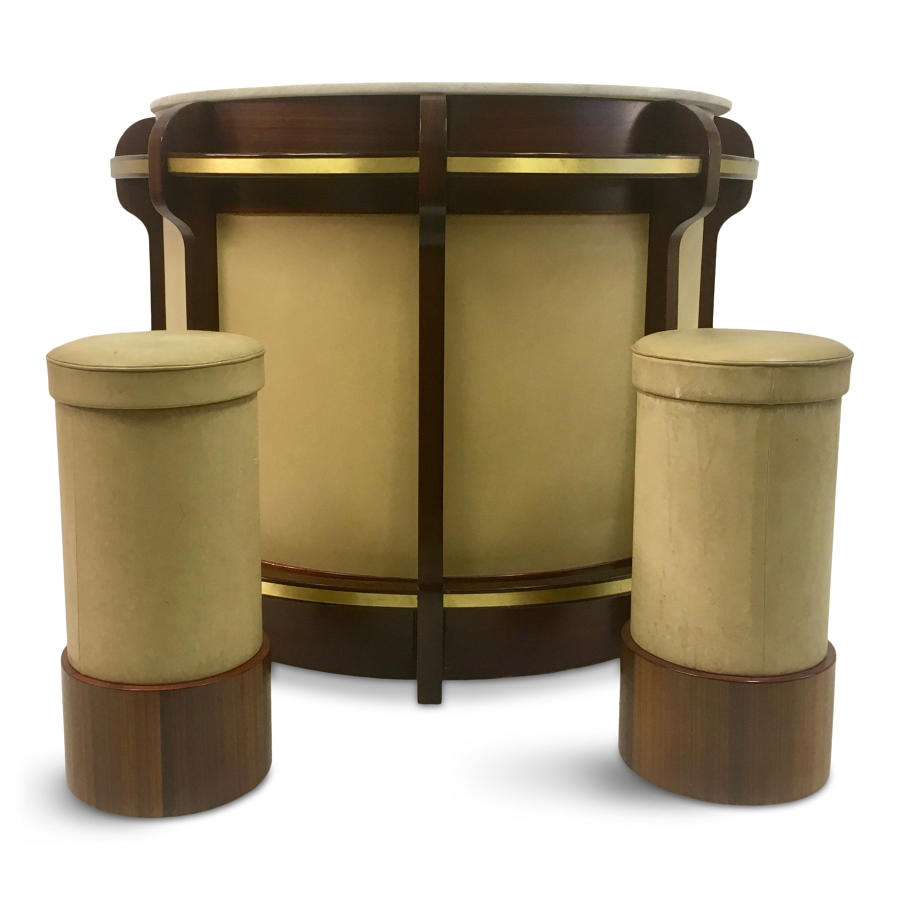 1970s walnut and brass bar and stools by Luciano Frigerio