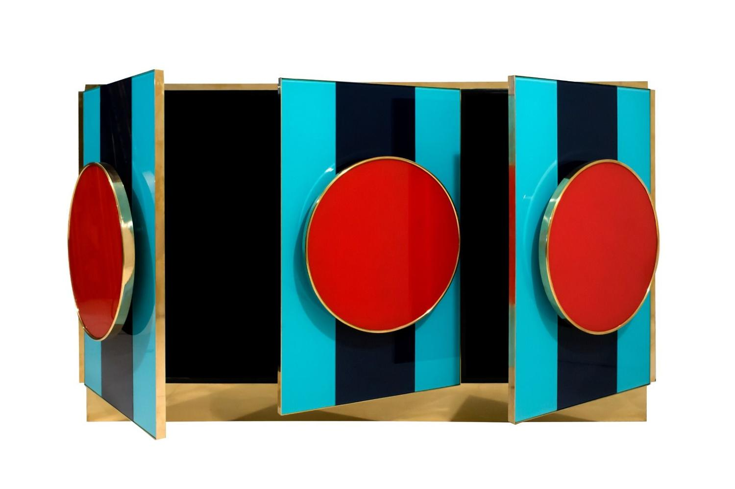 Italian coloured glass and brass sideboard