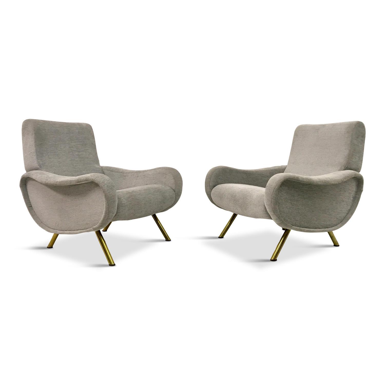 A pair of Italian Marco Zanuso inspired armchairs