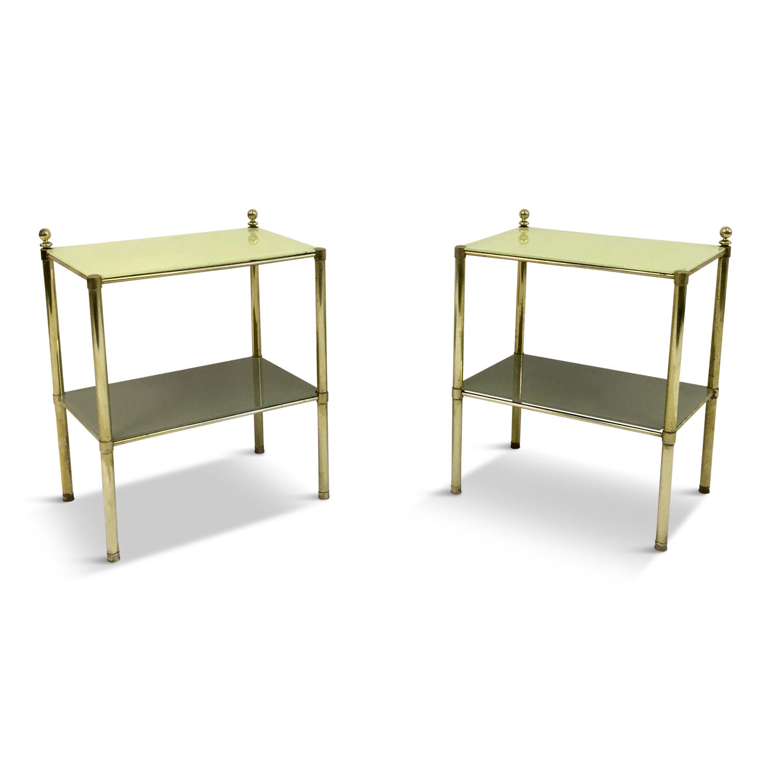 A pair of 1970s Italian brass side tables with yellow glass