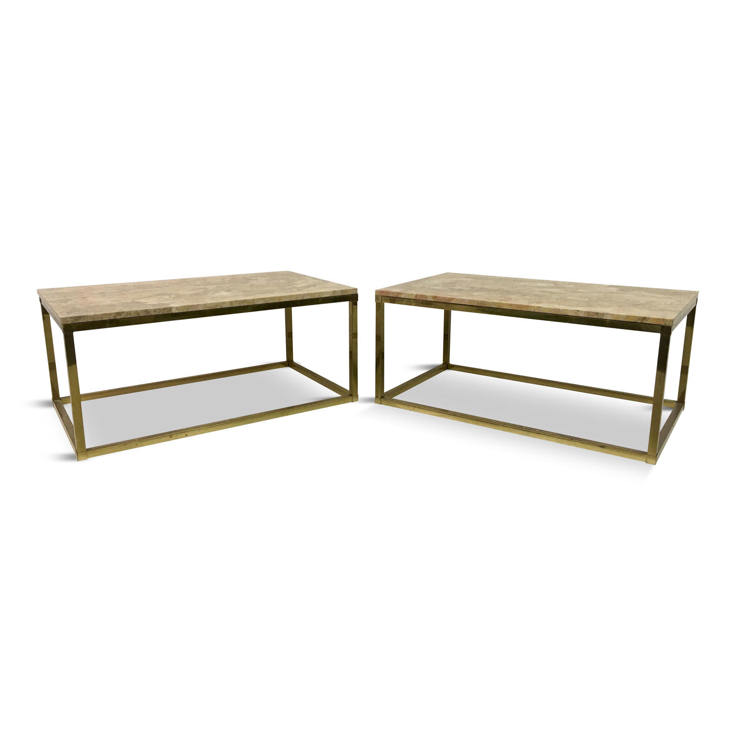A pair of brass and marble coffee tables