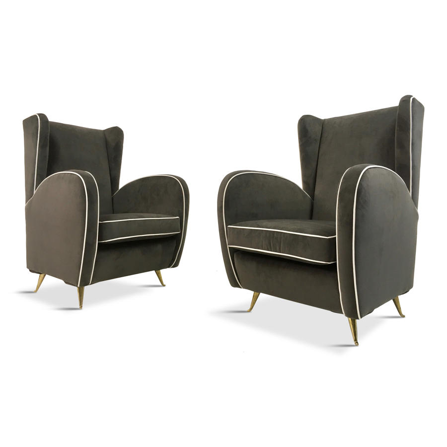 A pair of 1950s Italian armchairs in grey velvet