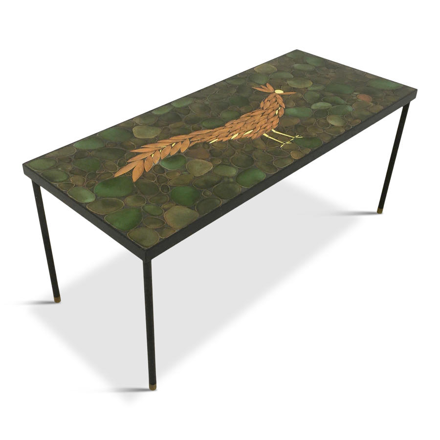 Ceramic, steel and brass coffee table