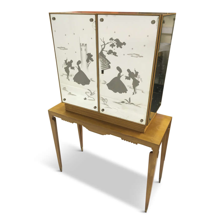 1950s Italian mirrored bureau cabinet on stand