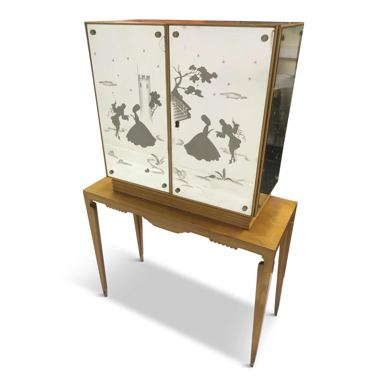 1950s Italian mirrored bureau cabinet on stand