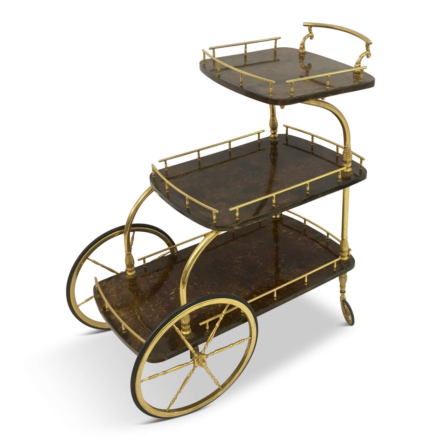 1950s Italian lacquered goatskin and gilt metal trolley by Aldo Tura
