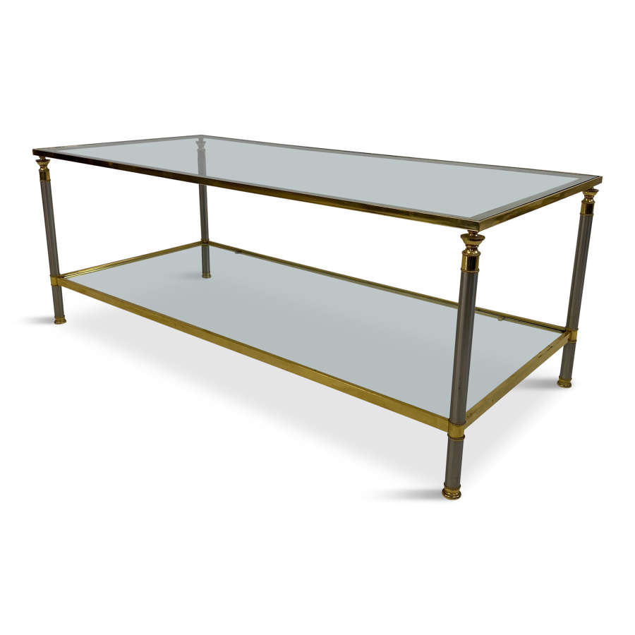French two tier nickel and brass coffee table