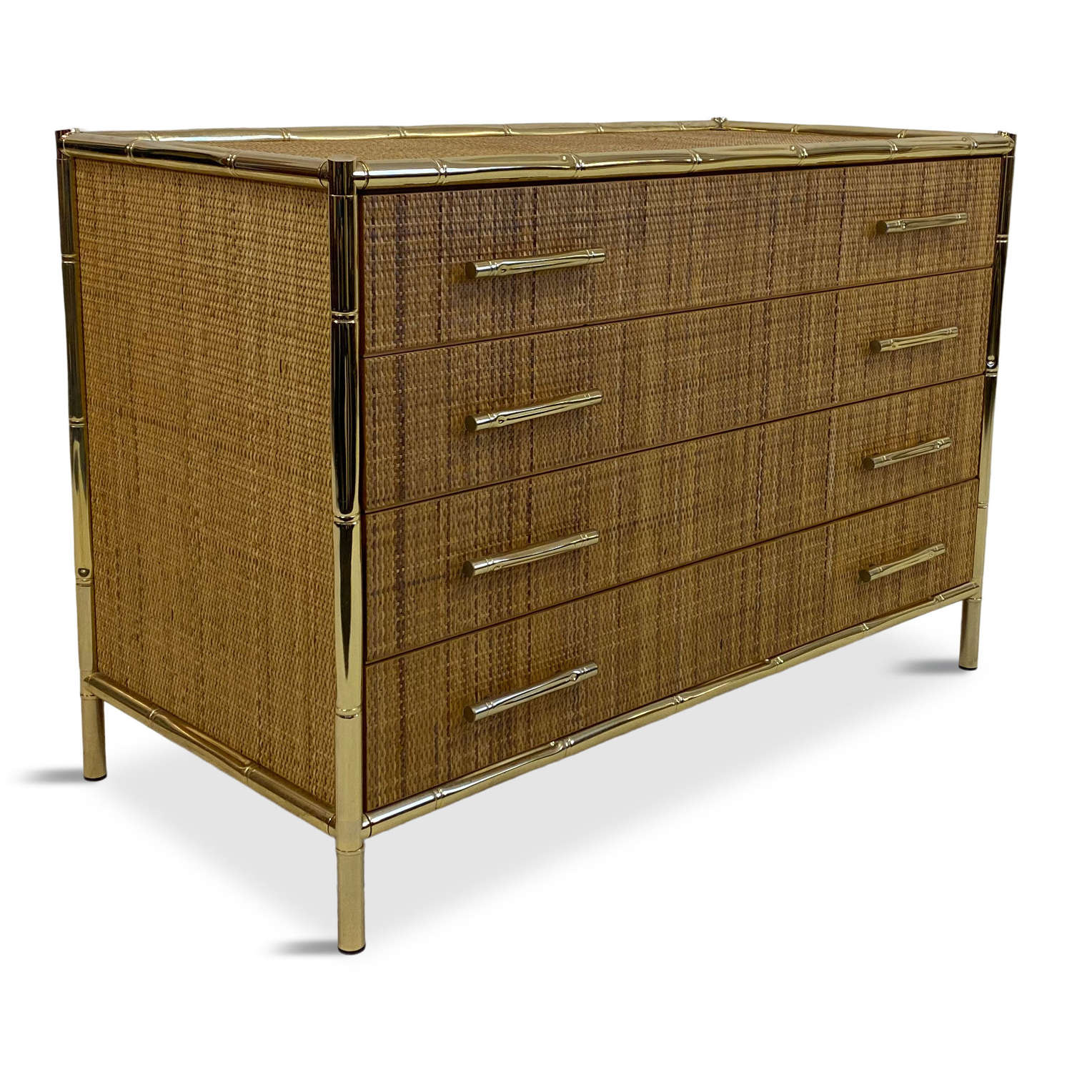1970s rattan and brass faux bamboo chest of drawers