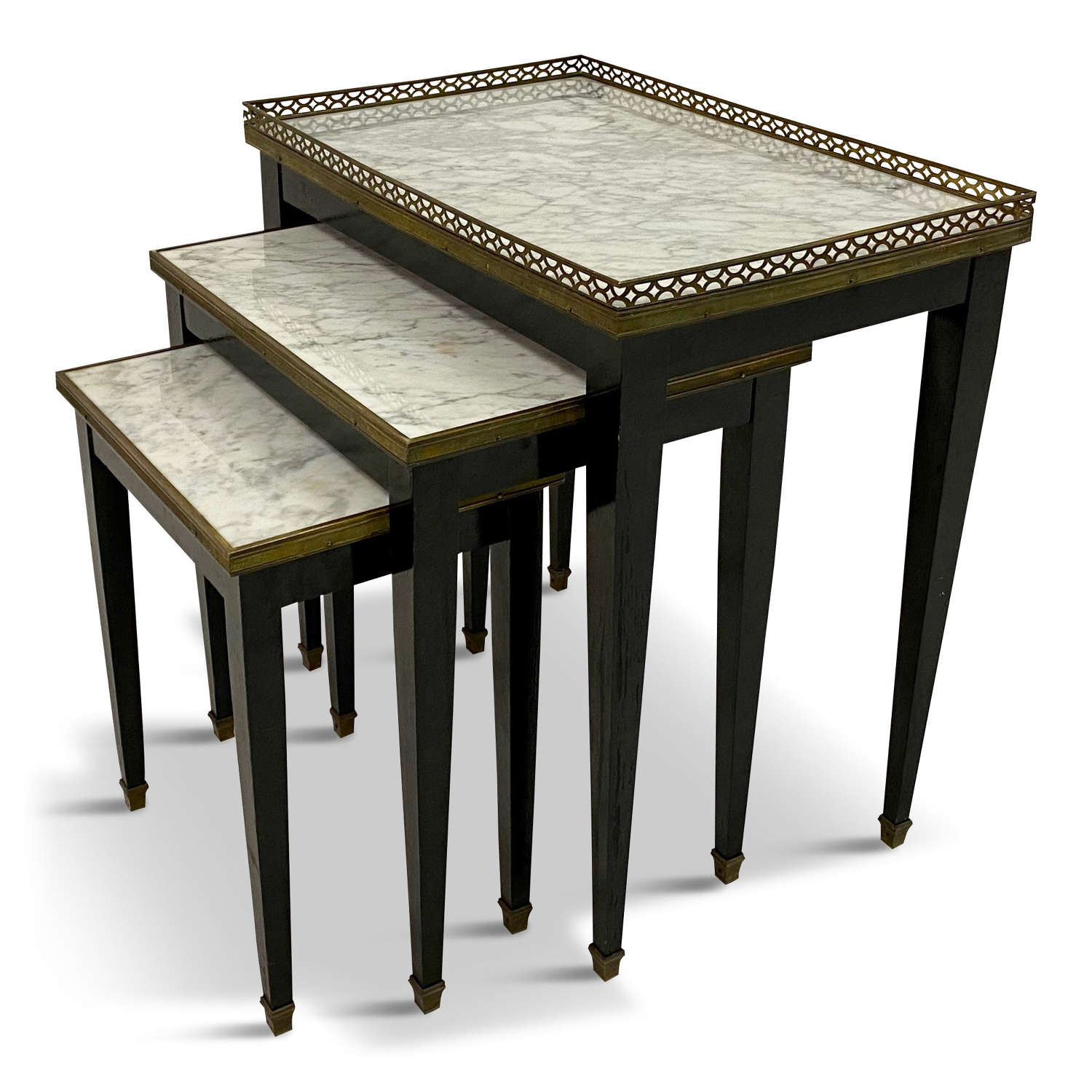 A French marble and brass nest of tables