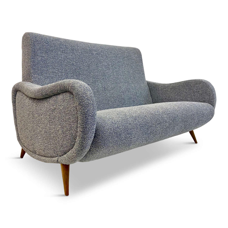 Small 1950s Italian sofa in Sahco fabric