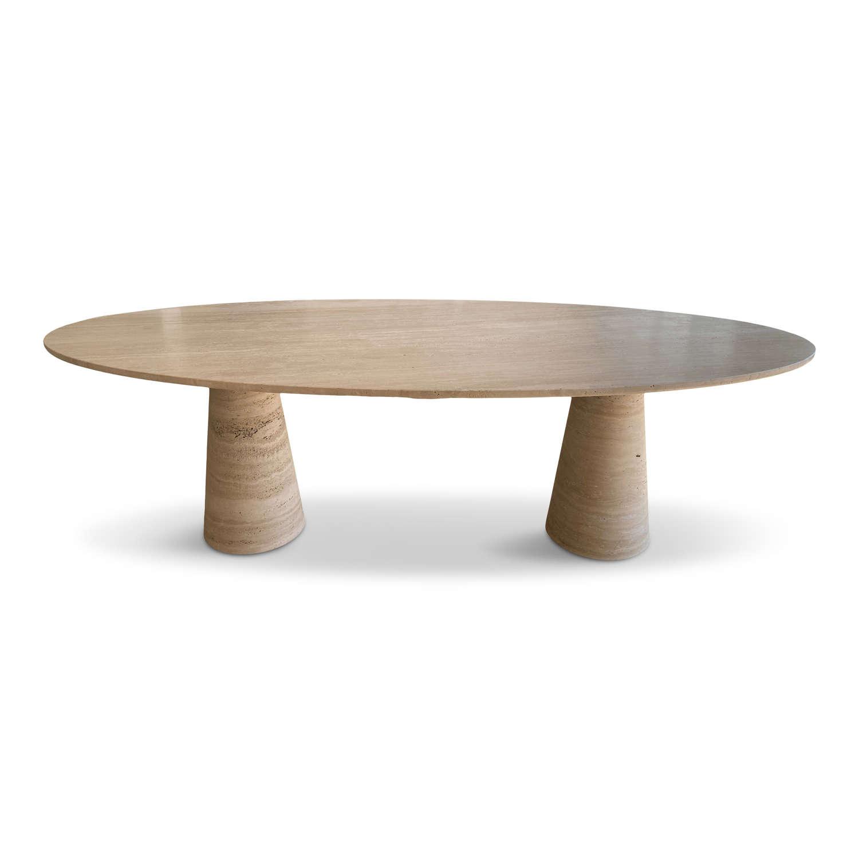 Bespoke Italian travertine oval dining table