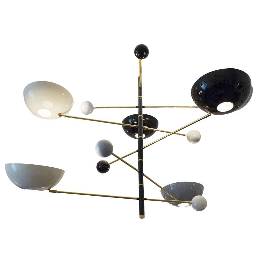 Contemporary Italian enamel and brass chandelier
