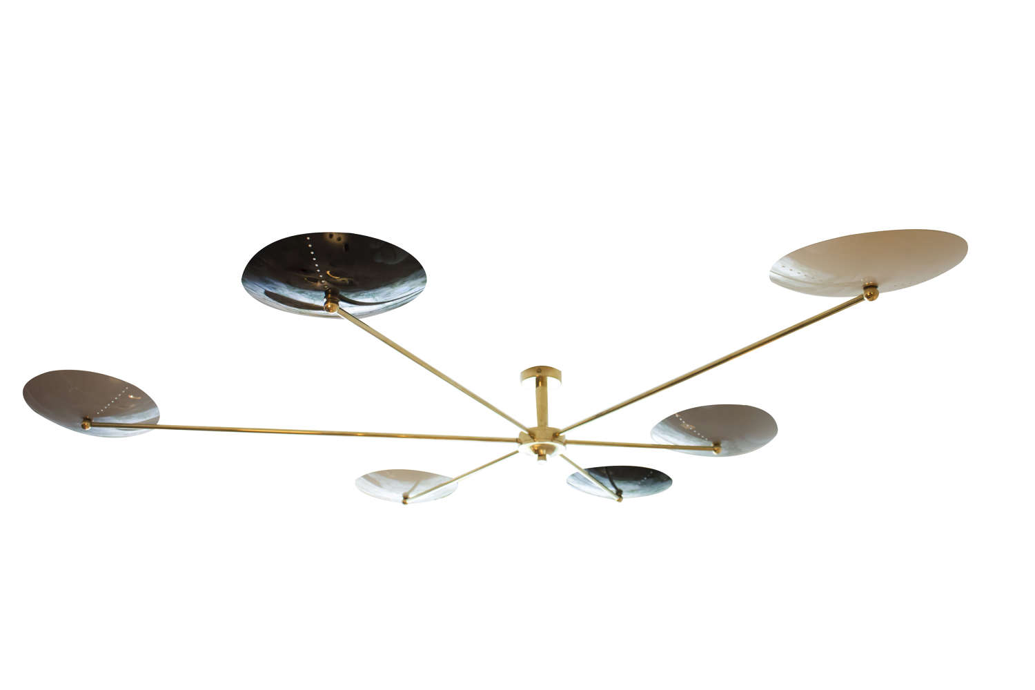 Contemporary Italian brass and enamel chandelier