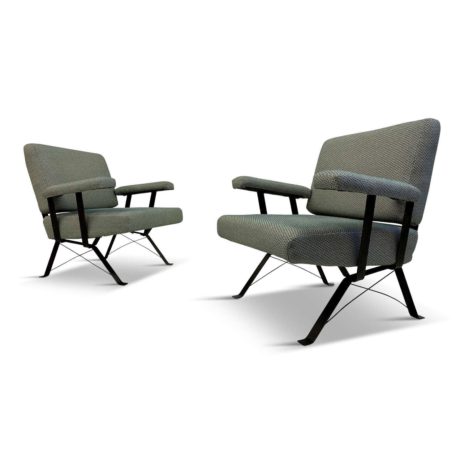 A pair of 1960s Italian steel framed armchairs in Pierre Frey fabric