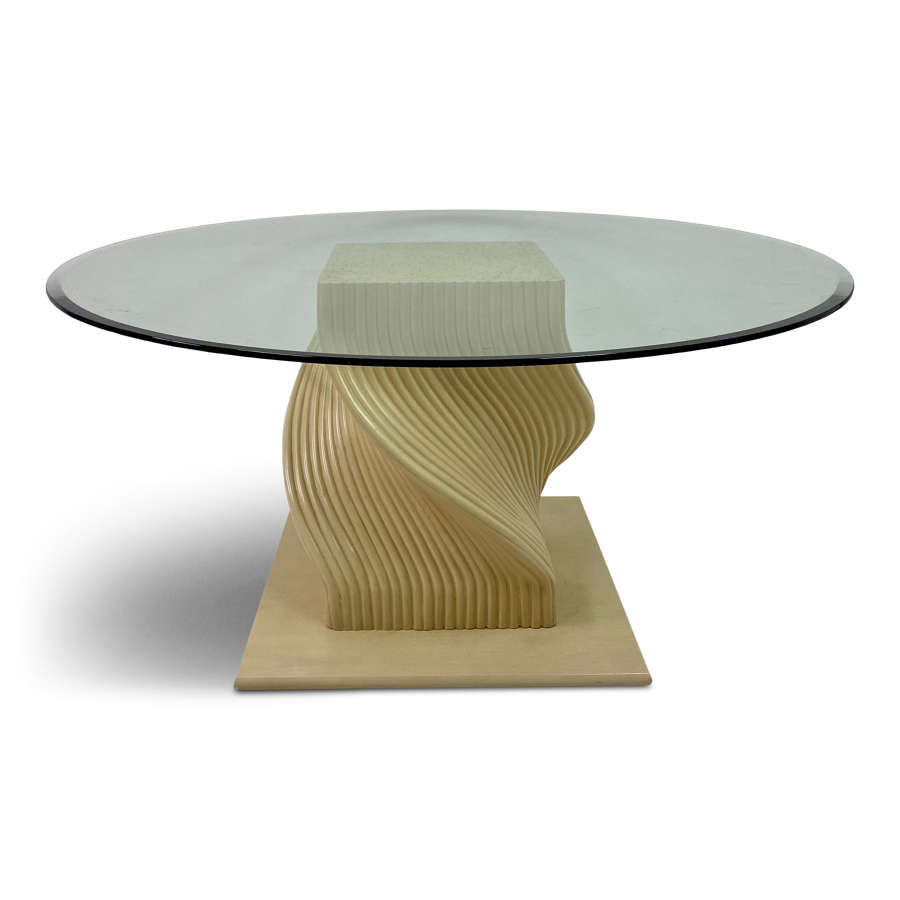 1980s spiral bamboo dining table with glass top