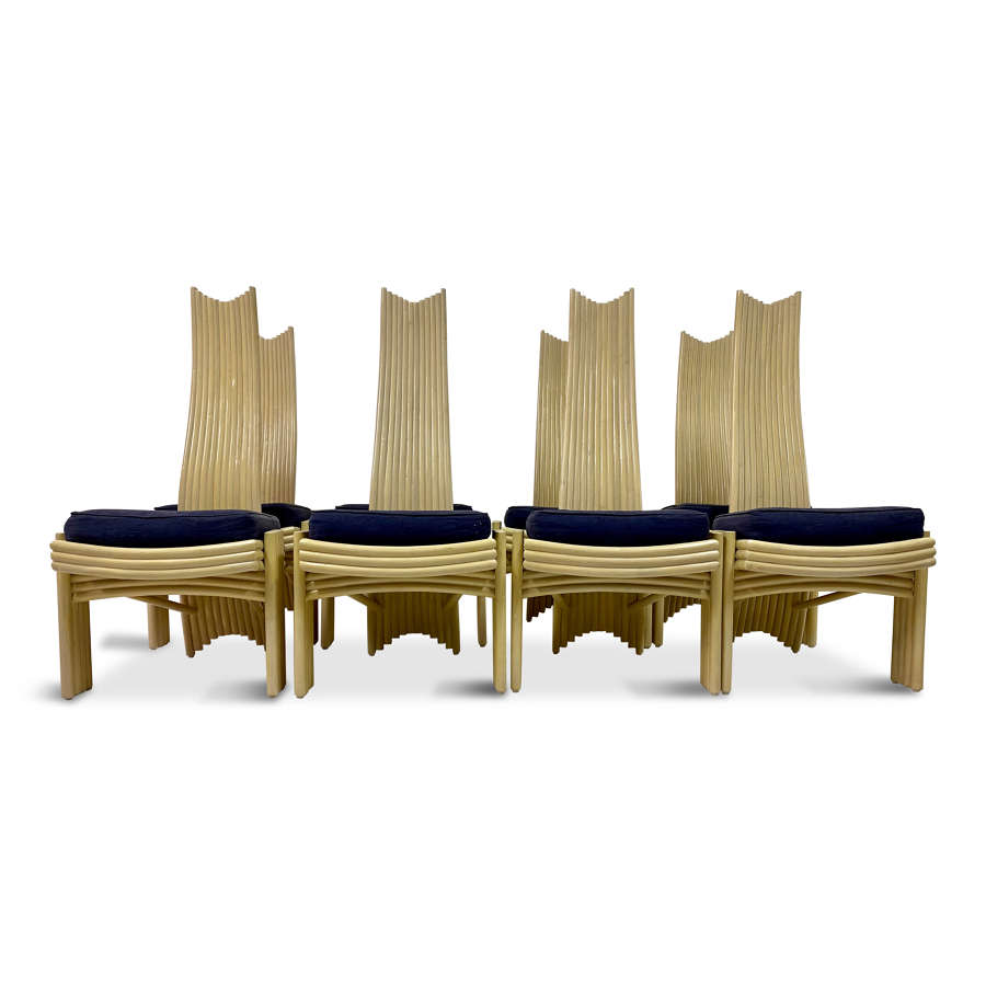 A set of eight 1980s bamboo dining chairs