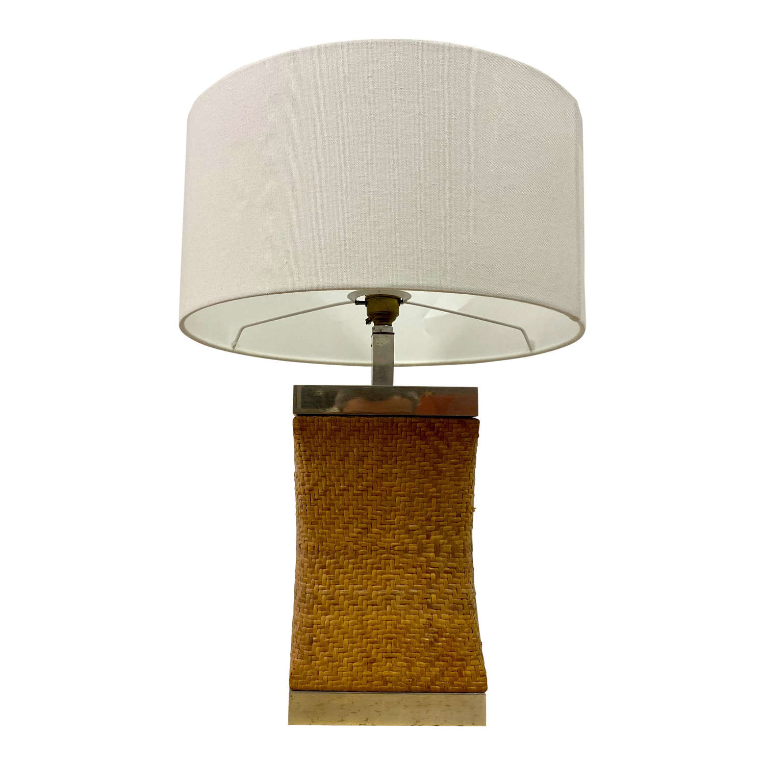 1970s rattan and chrome table lamp
