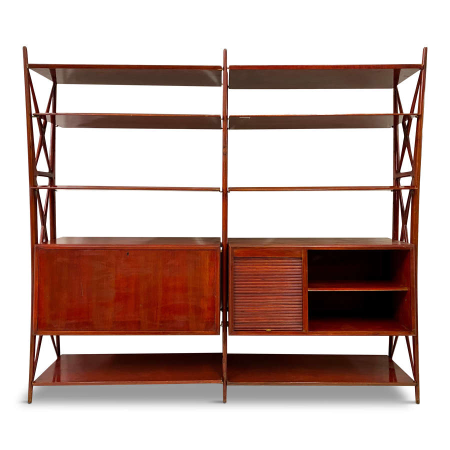 Red lacquered wall unit by Silvio Cavatorta