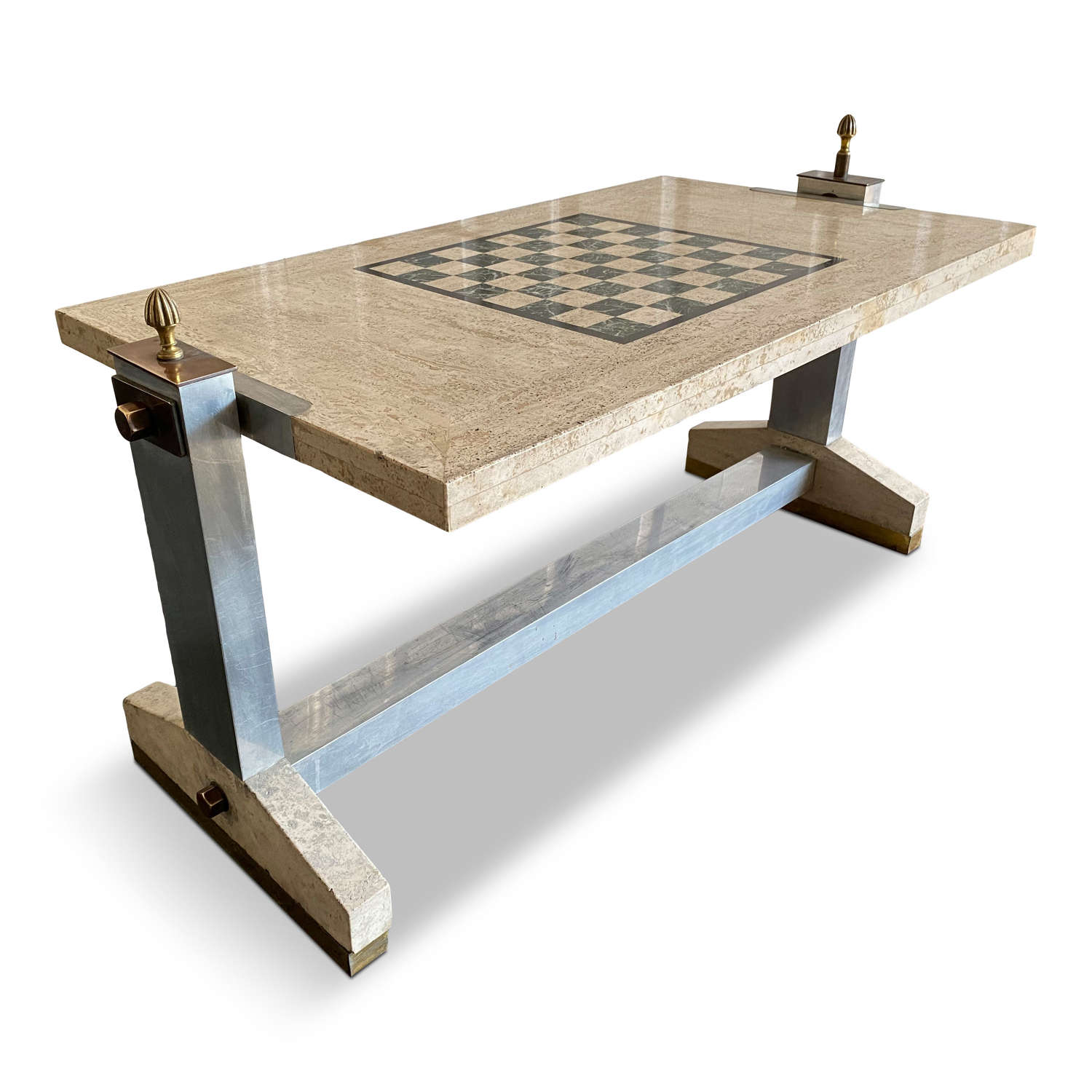 1970s Italian travertine, bronze and chrome games coffee table