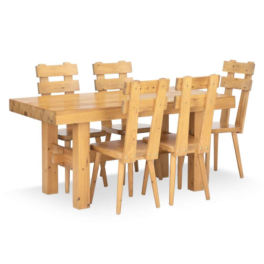 1970s Swedish Pine Dining Table and Chairs