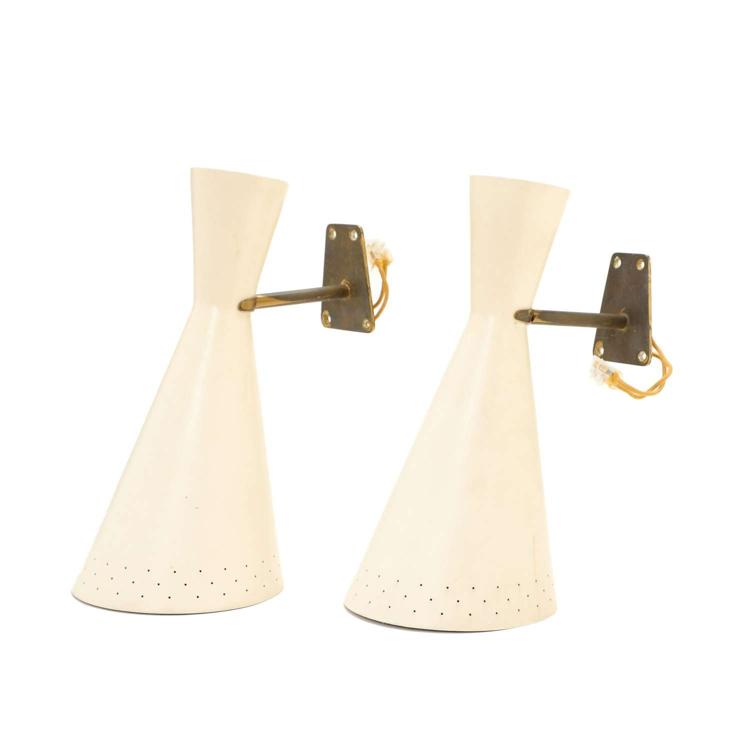A pair of 1950s Italian brass and enamel wall lamps