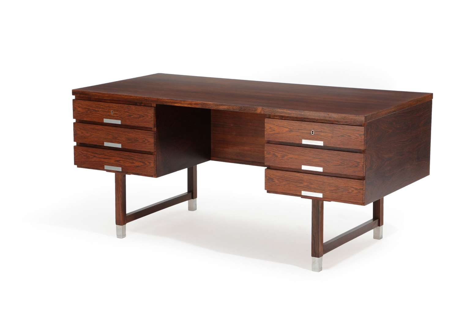 1960s Danish Rosewood and Aluminium Desk by Kai Kristensen