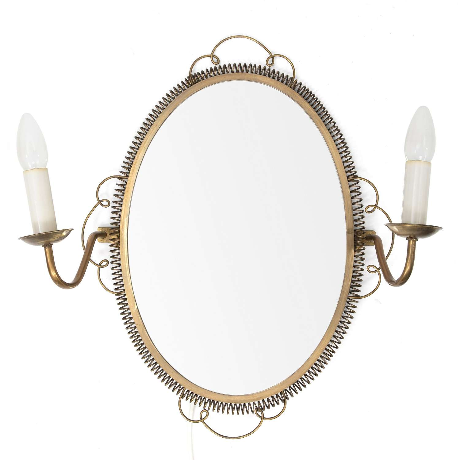 1950s Swedish Brass Mirror with Sconces