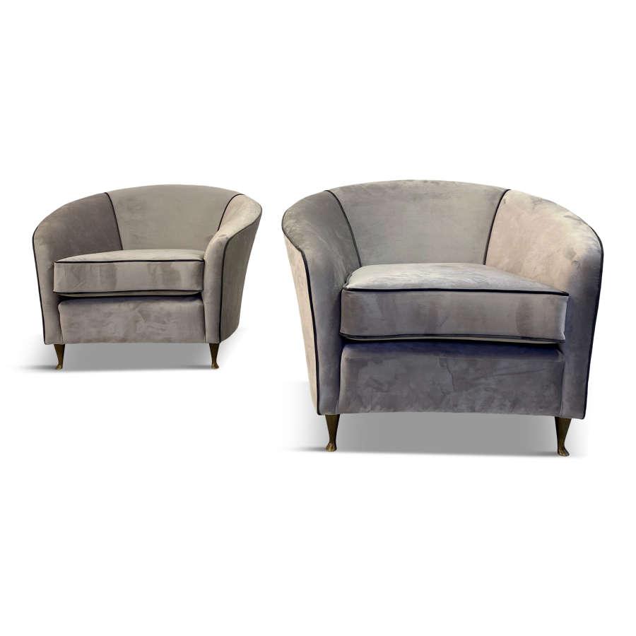 Pair of Italian 1950s Armchairs in Grey Velvet By Lorenzo Bergallo