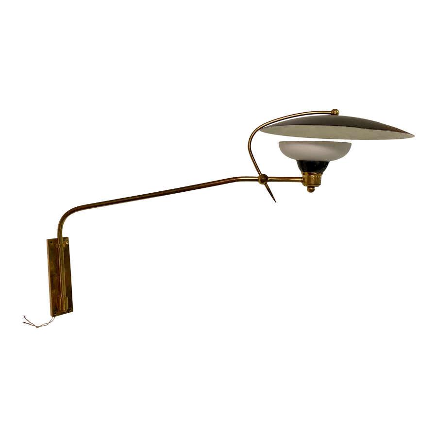 1950s Italian Brass, Enamel and Glass Swing Wall Lamp
