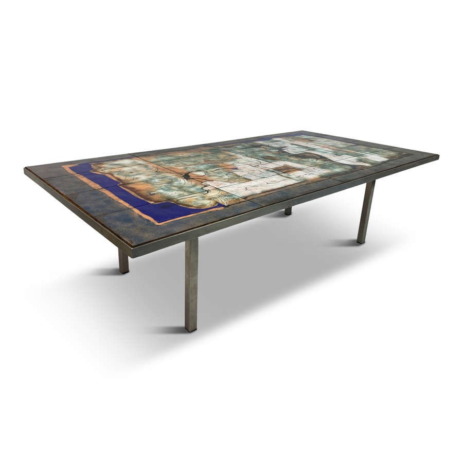 Steel Coffee Table with Enamelled Top by Giorgio Musoni