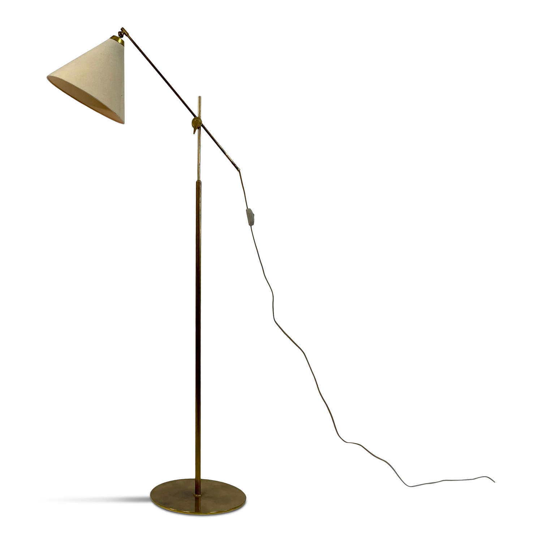 Adjustable 1960s Danish Brass Floor lamp by TH Valentiner