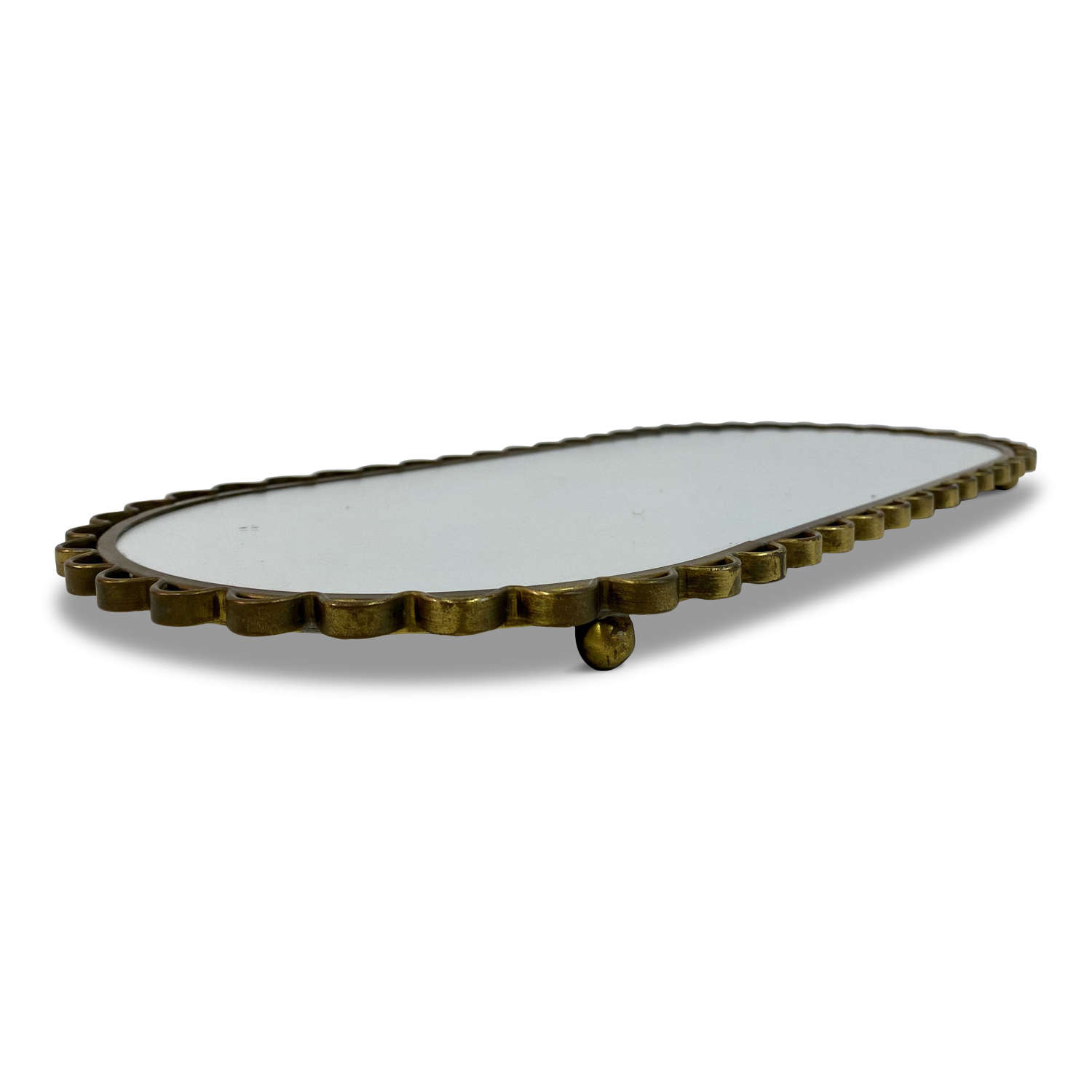 1950s Swedish Brass Mirrored Tray or Plateau