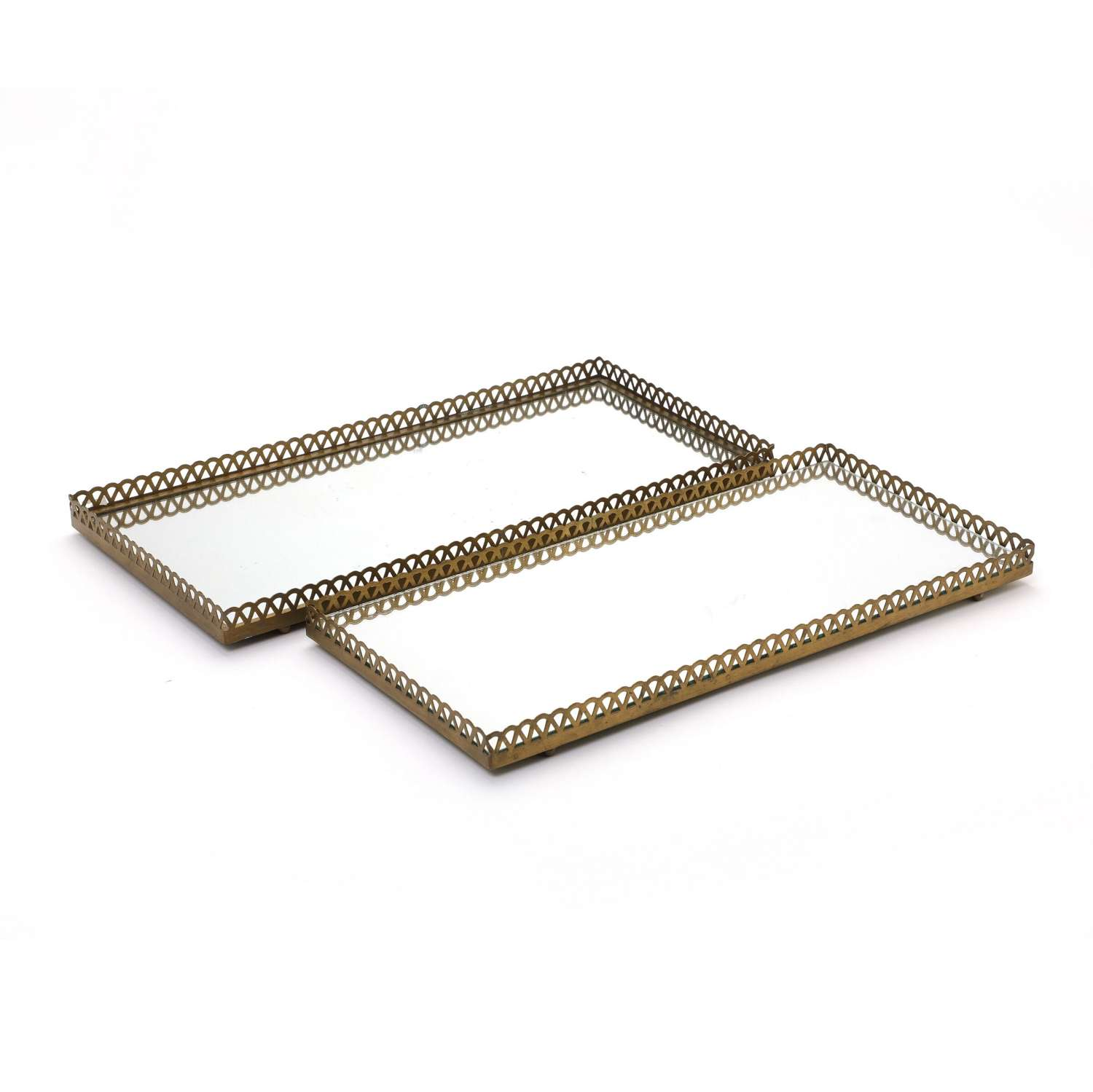 Pair of 1960s Swedish Brass Mirrored Trays or Plateaus