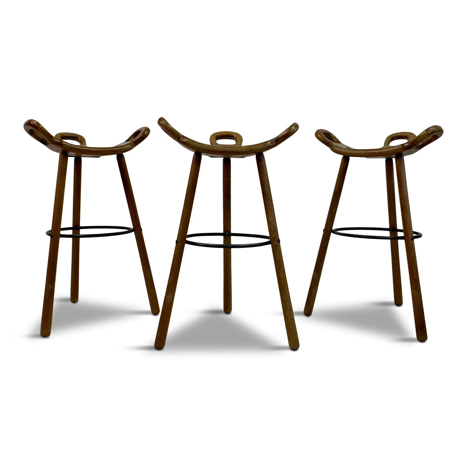 Set of Three 1970s Spanish Brutalist or Marbella Stools