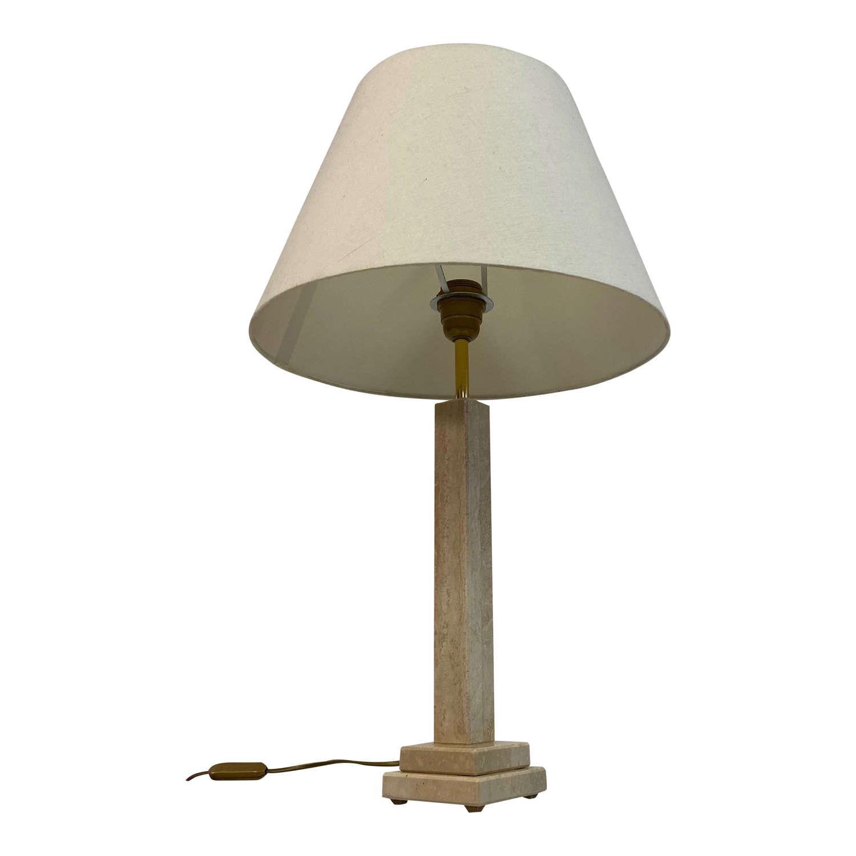 1970s Italian Travertine Table Lamp